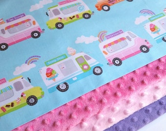 What's the Scoop Baby Blanket - MADE TO ORDER - Ice Cream Minky Blanket - Baby Bedding - Pink Blanket- Purple Baby Blanket - Cot Blanket