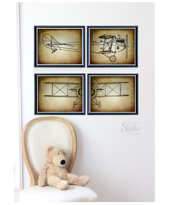 Items Similar To Airplane Nursery Art Vintage Airplane