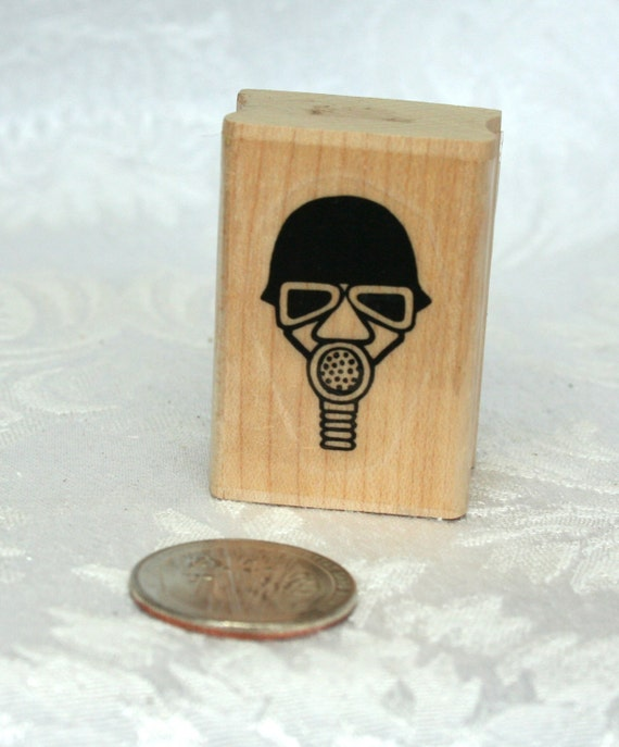 Vintage Gas Mask Rubber Stamp from Marks of Distinction 1991