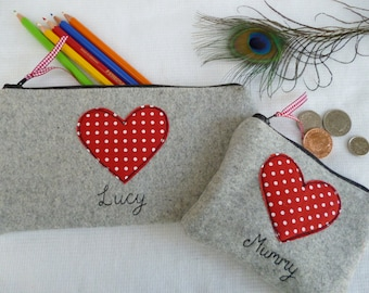 Handmade Personalised Ladies Coin/Card Purse Wallet or Pencil Case, Choice of size and wording, Valentines Red Polka Dot Heart on Grey Wool