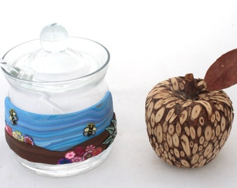 Honey Pot,  Glass Honey Jar, Sugar Jar, Honeypot, Glass Jam Jar, Lidded Jar,Jewish New Year Gift, Rosh Hashana, personalized jewish gift
