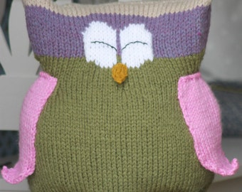 Toy Knitting Pattern PDF Owl Buddy Cushion