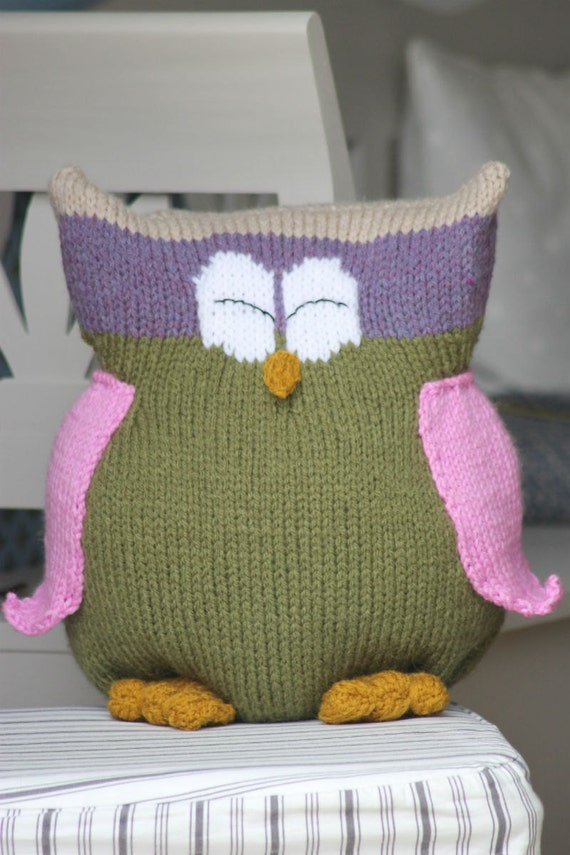 Owl Cushion Knitting Pattern : Toy Knitting Pattern PDF Owl Buddy Cushion