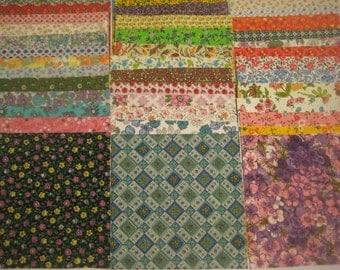 Lot of 42 Pieces - 5 inch squares of Feedsack and Vintage Fabric No Duplicates!