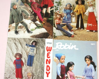 Four 1970s, knitting patterns for Sindy and Action-man clothes.