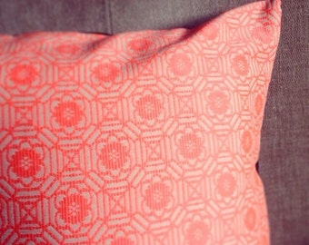 Linen Look Neon Coral Geometric Cushion Cover - Black Back