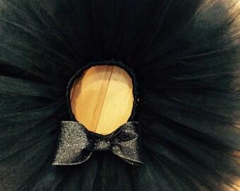 black tutu, glitter tutu, infant tutu, baby tutu, newborn tutu, halloween tutu, black glitter bow, black gold tutu, black silver tutu