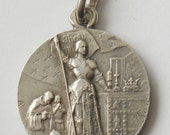 Antique French Solid Silver Medal St. Joan Of Arc Dated 1912