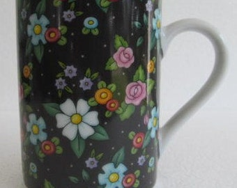 2002 At Home With Mary Engelbreit ME - Black Flower Floral Porcelain Coffee Mug