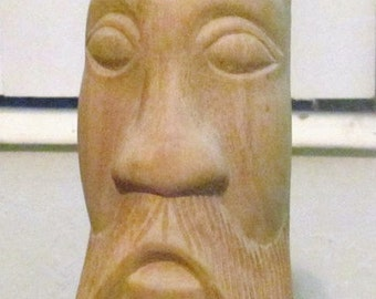 """Original Hand Carved """"Face of a Man"""" Sculpture Butternut Wood Art Untitled Man Bust"""