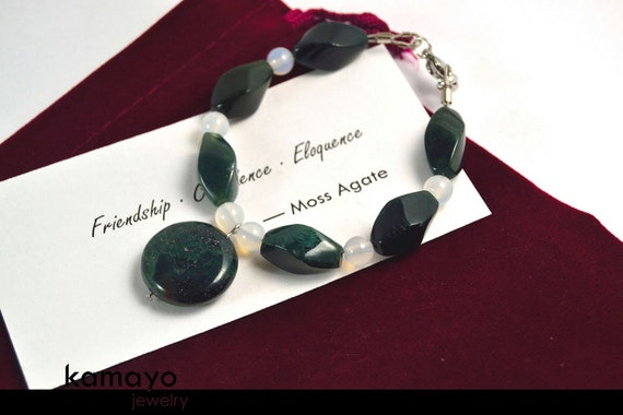"""MOSS AGATE BRACELET - Natural Dark Green Moss Agate Pendant & Beads with White Chalcedony Accents - Fits Wrist of Up to 5.75"""""""