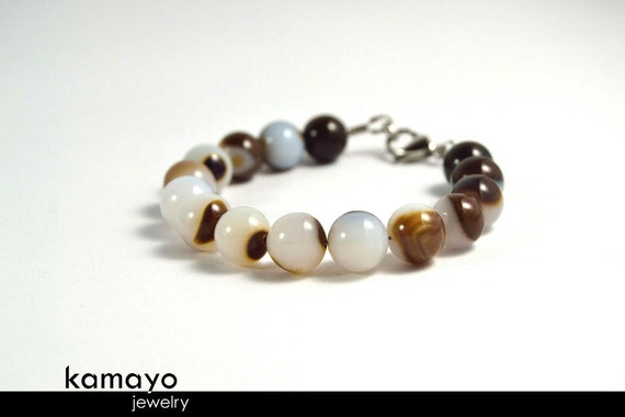 """WHITE AGATE BRACELET - Round Agate Beads with Dark Brown Bands - Fits Wrist of Up to 6.1"""""""