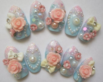 "3D deco nails- ""Reverie"""