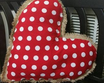 Heart shaped decorative burlap pillow