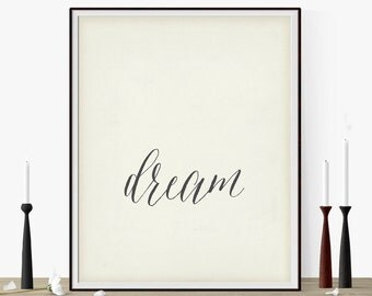"Typography Art Motivational Poster ""Dream"" Antique White Inspirational Word Art-Gift Idea For Her-Words To Live By-Large Wall Art"