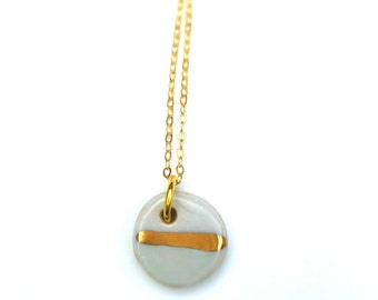 SUN STRUCK - Porcelain with Gold Lustre Stripe Necklace