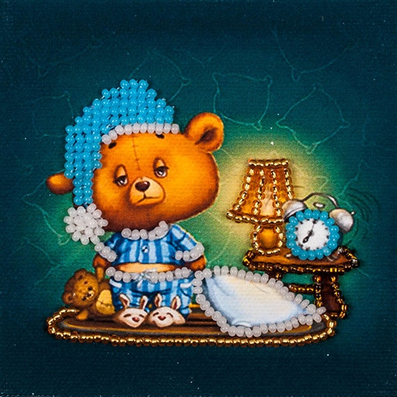Good night  Fridge magnet DIY bead embroidery needlework kit craft set