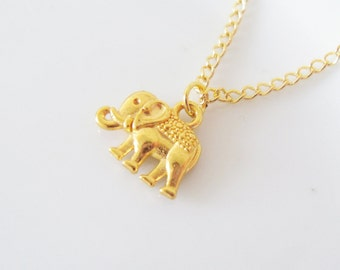 Cute Elephant Gold Necklace, Animal, Boho, Bohemian, Kitsch, Pretty, Nature, Layer, Simple