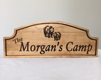 Custom Wood Sign, Camping Signs, Outdoor Wood Sign, Black Bear, Horizon Shape Signs,  Personalized Carved Camp Sign, Benchmark Signs