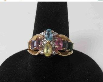 SPRING SALE 14K Gold Ring With Genuine Gemstones - Size 7.50