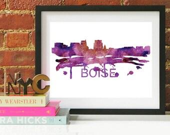 Boise State, Boise Idaho, Boise Art, Boise Skyline, Boise Map, Boise Wall Art, Boise Map Print, Boise Poster, Boise Art Print, Idaho Skyline