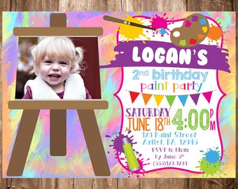 Paint Party Artist Invitation Digital File Only