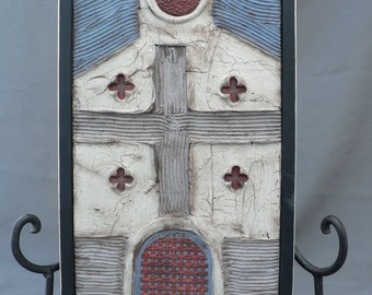 Wall sculpture, wall art, wall hanging, weathered look, 3D mixed media