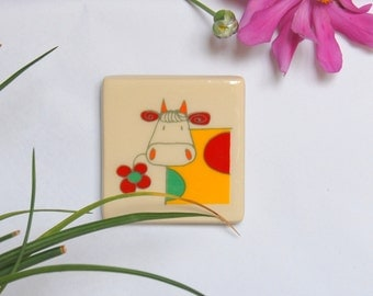 Fridge magnet Cow magnet Animal magnet Colorful magnet Kitchen decor Handmade magnet Ceramic magnet Clay magnet Kids magnet Home decor