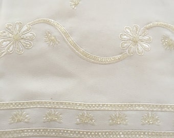 Ivory Rayon with Beaded Embroidery Border
