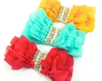 Chiffon Ruffle Bows With Crystal/Pearl Center