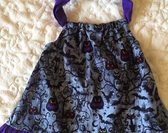 Pumpkin Owl Bat Dress Size 6 Months & 2T