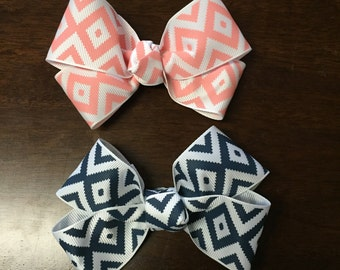 Coral and Navy Geo Diamond Boutique Bows