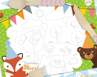 10 WOODLAND Animals Fox Bear Racoon Owl Squirrel Hedgehog Personalised Childrens Birthday Party Placemat Colouring Activity Stationary