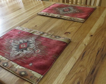 Set of 6 Placemats - Rustic Upholstery Fabric