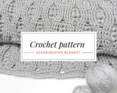Crochet Blanket Pattern. DIY Crochet Blanket PDF Pattern. Crochet Afghan Pattern. Cozy Crocheted Blanket. Scandinavian Blanket.