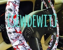 Steering Wheel Cover Zombie Apocalypse Walking Dead Undead Walker Scary Creepy Car Accessory Gift for Him Gift for Her