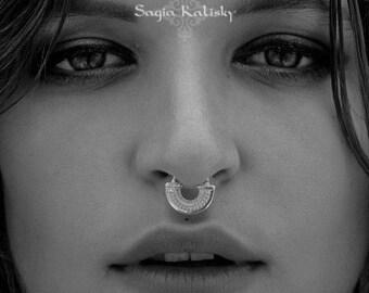 Septum Piercing, Silver Septum Ring, Sterling Silver Septum Jewelry, Tribal Nose Ring, 18g Septum, 16g Septum Ring