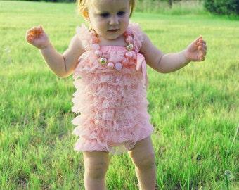 Romper Pink Romper Baby Romper Lace Romper Baby Girl Romper Newborn Romper Petti Romper Baby Girl Photo Prop  Newborn Photo Prop Pink