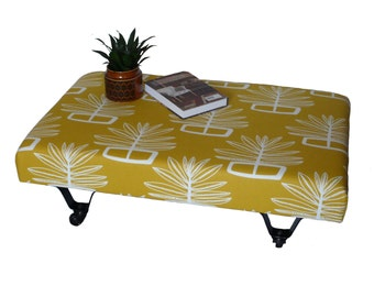 SALE !! 50% DISCOUNT from marked price !,  Foot Stool/ coffee Table/ upholstered furniture/ retro fabric/ retro pattern/ industrial