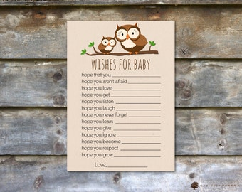 Wishes for Baby Card, Owl Wishes for Baby, Well Wishes for Baby, Owl Wishes for Baby, Owl, Baby Shower Wishes for Baby, Woodland Baby Shower