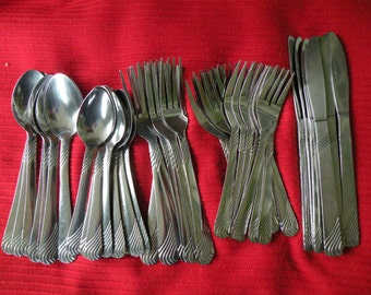 Flatware, forks , spoons, knives, stainless, kitchen 53 pc..