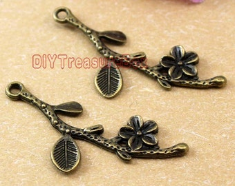 25PCS--Branch charms, Antique Bronze Branch With Flower Charm Pendant 40X17mm