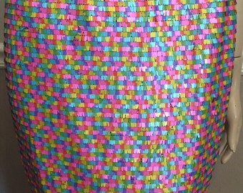 Awesome 90's does 80's look neon metal looking multicolor detail trim artsy Greylin mini skirt / size medium