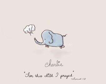 Customized baby's name or not -1 Samuel 1:27  baby elephant nursery print art