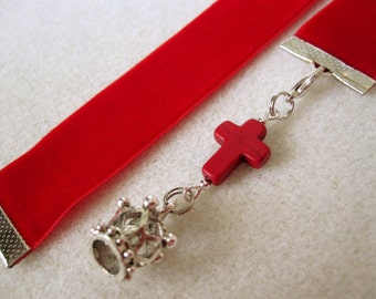 Red velvet Ribbon Bookmark w/Cross and Crown