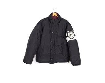 vintage TOMMY HILFIGER down jacket - REVERSIBLE puffer jacket - 90s 1990s - big  logo - black and white - medium - large