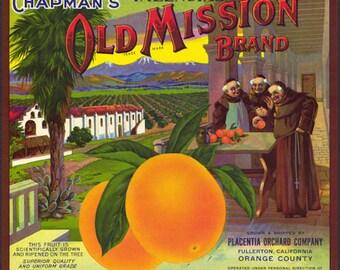 Old Mission Brand Valencia Orange Crate Label