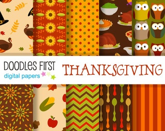 Thanksgiving Digital Paper Pack Includes 10 for Scrapbooking Paper Crafts
