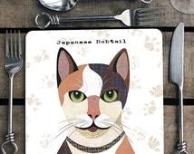 Japanese Bobtail cat personalised placemat/coaster