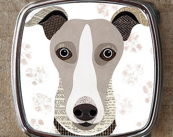 Whippet dog compact mirror
